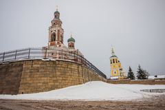 Two churches in winter. On the hill Stock Photo