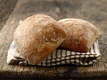Two ciabatta bread buns Royalty Free Stock Photos