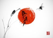Free Two Cicadas, Big Red Sun And Bamboo Branch. Traditional Oriental Ink Painting Sumi-e, U-sin, Go-hua. Hieroglyph - Stock Image - 126856261