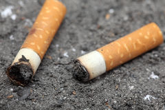 Two cigarette butts Royalty Free Stock Image