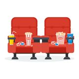 Two cinema chairs. Auditorium and two red comfortable armchairs in the cinema. Drinks and popcorn, glasses for movie Flat vector cartoon Cinema seats Royalty Free Stock Photo