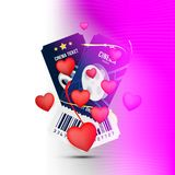 Two cinema realistic ticket with red hearts for Valentines day isolated on colour background with shadow. Flat vector illustration. EPS 10 Stock Photo