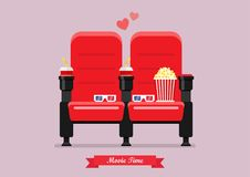 Two cinema seats with popcorn drinks and glasses. Vector illustration Stock Image