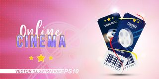 Two cinema ticket realistic on pink and light background with shadow. Flat vector illustration EPS 10.  Royalty Free Stock Images