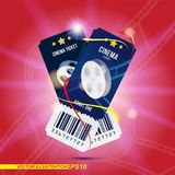 Two cinema ticket realistic on red and light background with shadow. Flat vector illustration EPS 10.  Royalty Free Stock Photography