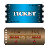 Two cinema tickets. Colorful cinema tickets with the text admit one written on the tickets Royalty Free Stock Image