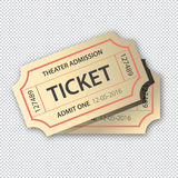 Two cinema tickets pair .  on transparent background, vector illustration Stock Images