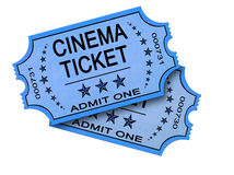 Two Cinema tickets on white. Pair of old cinema ticket isolated on white Royalty Free Stock Photography