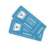 Two cinema vector tickets isolated on white background Stock Image