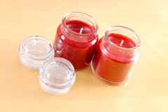 Two Cinnamon Candles Stock Images