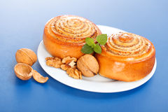 Two cinnamon rolls on plate Stock Image