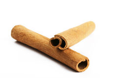 Two cinnamon sticks Royalty Free Stock Photos