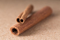 Two cinnamon sticks on corkwood background. Close-up shot Royalty Free Stock Photos