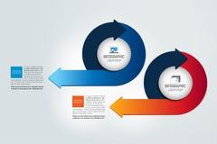 Two circle arrows infographic, chart, scheme, diagram. Vector illustration stock illustration