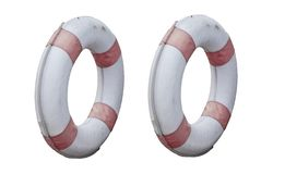Two circle of lifebuoy old isolated on white backgrounds.life saver. stock photography