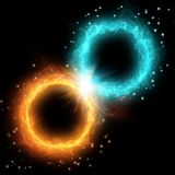 Two circle plasma, fire and ice. Hot and cold on black background Royalty Free Stock Photography