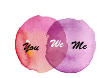 Two circle watercolor  intersection background  you  me we , abstract,Vector illustration Stock Photo