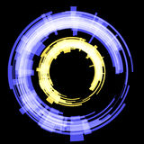 Two circles of abstract blue and yellow. Raster. Raster vector illustration