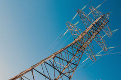 Two-circuit, single-voltage power transmission line; Bundled 3-ways Royalty Free Stock Images