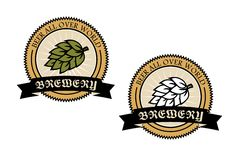 Two circular brewery labels Stock Image