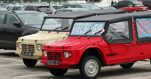 Two Citroen Mehari French Vintage Cars. Nice, France - May 21, 2019: Two Citroen Mehari, French Vintage Cars Parked In A Parking Lot In Nice On The French stock video