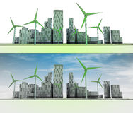 Two city views with buildings and wind turbines Royalty Free Stock Photo