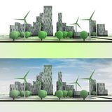 Two cityscape with buildings and wind turbines Stock Photos