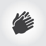 Two clapping human hands black icon. Flat sign of applause, encouragement, approval. Web graphic pictograph Stock Photo