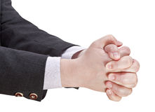 Two clasped hands - hand gesture Stock Images