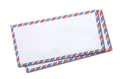 Two classic air mail envelope isolated Royalty Free Stock Image