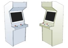 Two Classic arcade game machines isolated over white Stock Photography