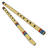 Two classic bamboo flutes. Hand drawing of two classic bamboo flutes Stock Photos