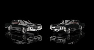 Two Classic Cars On Black Background Stock Photo
