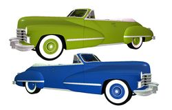 Two Classic Cars Isolated. On White. Blue and Green Convertible Classic Oldtimers Stock Photography