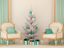 Two classic chairs and white Christmas tree Royalty Free Stock Photo