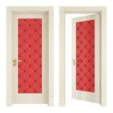 Two classic doors with red upholstery vector illustration
