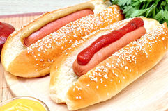 Two classic hot dog Stock Image
