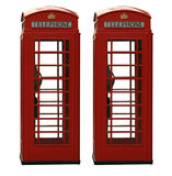Two classic red British telephone box, isolated on Royalty Free Stock Images