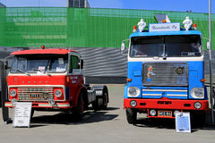 Two Classic Volvo Trucks at Logistics Transport 2015 Stock Image