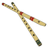 Two classic wooden flutes. Hnad drawing of two classic wooden simple flutes Stock Images