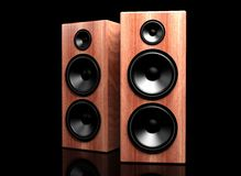 Two classic wooden speakers Stock Photography