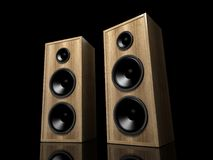 Two classic wooden speakers Royalty Free Stock Photos