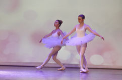 Two classical ballerina dancing on stage Royalty Free Stock Images