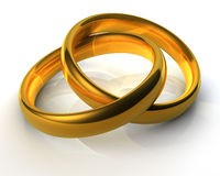 Two classical golden wedding rings Stock Photo