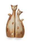 Two clay funny enamoured cats Royalty Free Stock Photos