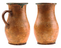 Two clay jugs isolated on white background. Jugs isolated on white background Royalty Free Stock Photography
