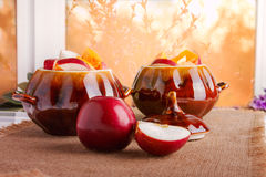 Two Clay Pots with Fruit Ingridients Stock Images