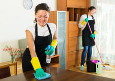 Two cleaners cleaning room together Royalty Free Stock Photos