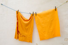 Two cleaning rags hanging Stock Photos