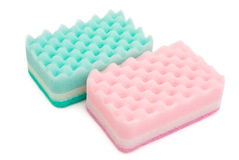 Two cleaning sponges. With clipping path Stock Photos